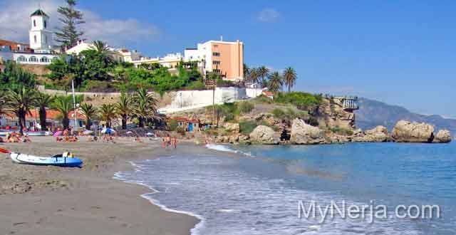 View towards the Balcon de Europa from El Salon Beach Nerja