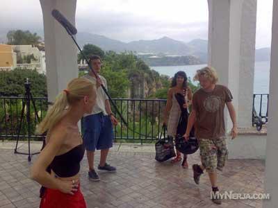 Filming on the Balcon de Europa, Nerja