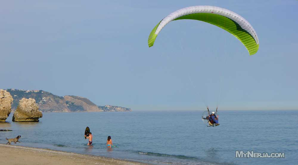 Motorised Parachute At El Salon Beach Nerja Mynerja