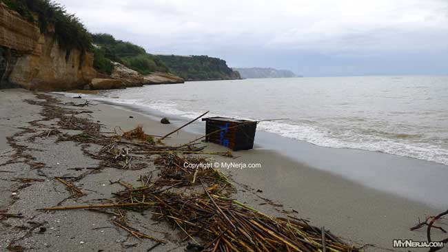 Rubbish Bin Washed Out To Sea At Burriana