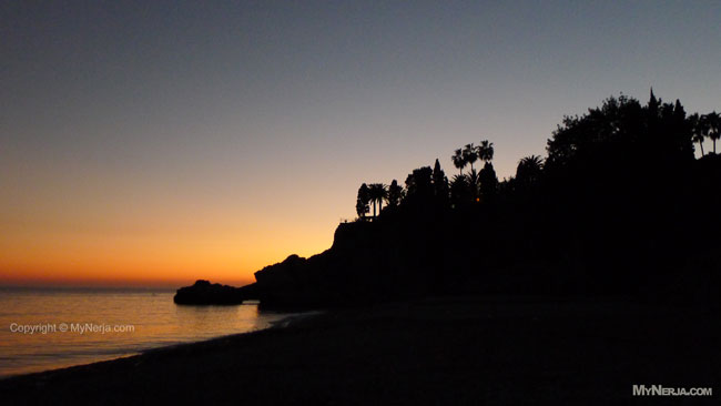 November Sunset At Playa Burriana Nerja After The Storms