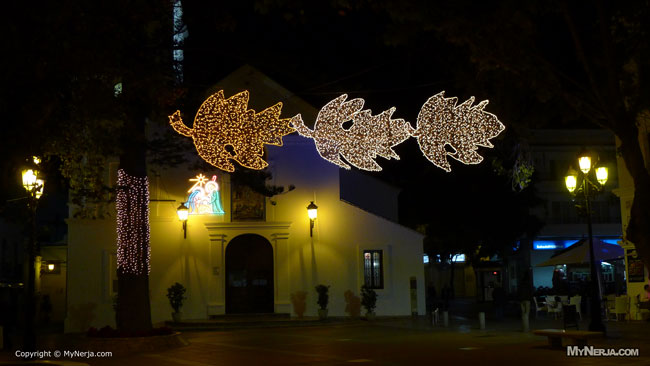 Christmas Lights At El Salvador Church On The Balcon de Europa, Nerja