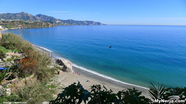 View Out Over Burriana Beach Nerja From The End Of Calle Carabeo January 29th 2013