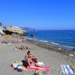 Carabeo Beach Nerja On A Spring Afternoon In April