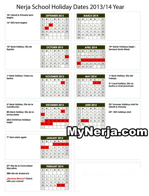 Nerja School Holiday Dates 2013 2014