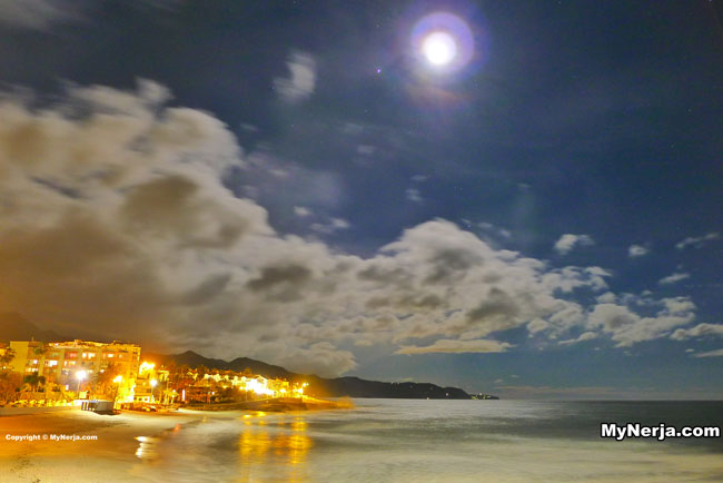 Torrecilla Beach Nerja By Moonlight