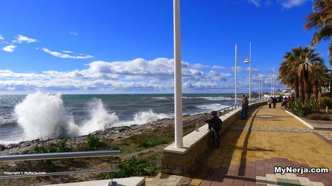 Big Waves At Torrecilla Beach Nerja